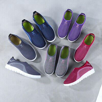 Women Ladies Slip On Cotton Mesh Comfy Work Summer Casual Loafers Shoes Sizes