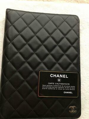 CHANEL Matelasse CC Logo Note Agenda Day Planner Cover Black Caviarskin Leather