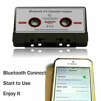 Bluetooth Hand-free Car Cassette Audio Tape Adapter for iPhone iPod MP3 CD Radio