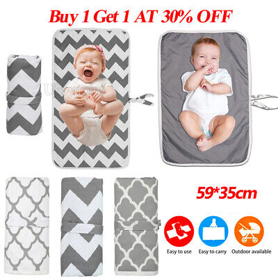 UK Newborn Baby Washable Portable Foldable Travel Diaper Change Mat Pad Storage