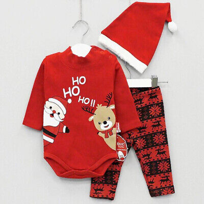 Christmas Toddler Newborn Baby Outfits Boy Girl Tops Romper Pants Clothes Set