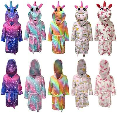 Kids Dressing Gown Childrens Hooded Bathrobe for Boys Unicorn Gifts for Girls