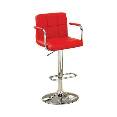Corfu Contemporary Bar Stool With Arm In Red Pu