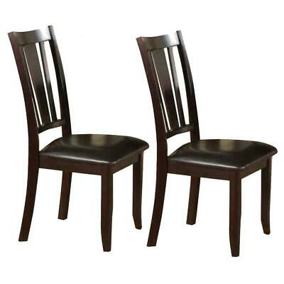 Rubber Wood Dining Chair With Upholstered Seat, Set Of 2,Brown