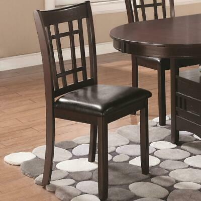 Armless Dining Side Chair, Espresso Brown & Black, Set of 2