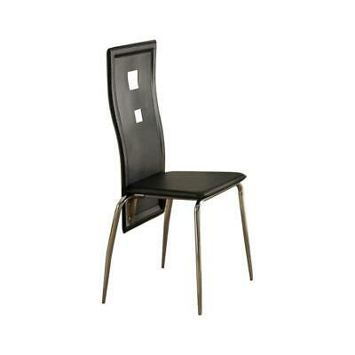 Metal Dining Chair With Cutout Back, Set Of 2, Black And Chrome