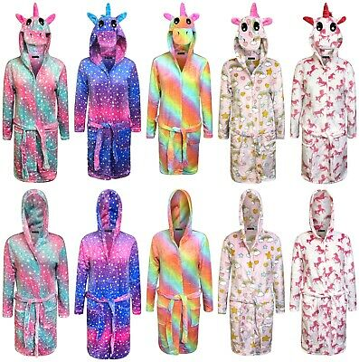 Unicorn Bathrobe for Women Adult Dressing Gown Ladies Soft Hooded Nightwear