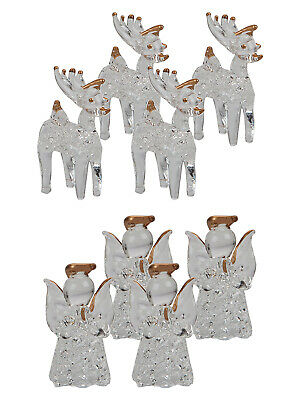 Glass Angel Reindeer Christmas Tree Decoration Luxury Xmas Bauble Set of 4