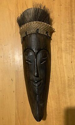 Vintage Wooden Hand Carved wall Hanging Mask Chinese Asian Face Mask