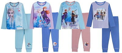 Girls Disney Frozen 2 Pyjamas Kids Full Length Elsa Anna Olaf Pjs Set Nightwear