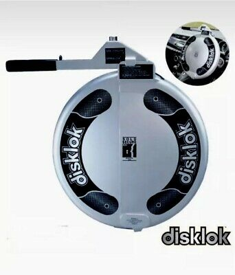SMALL SILVER DISKLOK CAR STEERING WHEEL SECURITY AUTO LOCK + 3 Keys Brand New