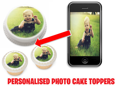36 Edible Cup Cake Toppers Personalised Rice Paper Your Own Image Photo