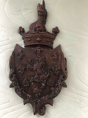 Vintage Decorative Hand Carved Wood Medieval Coat of Arms Shield Wall Sculpture
