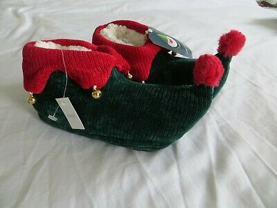 BNWT Boys Girls NEXT Red Green Christmas Elf Bell Detail Slippers Size UK 12