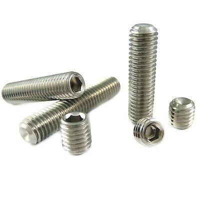 Grub Screws Cup Point Hex Socket Set M3 M4 M5 M6 M8 M10 M12 A2 Stainless DIN 916