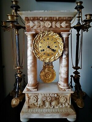 Large French White Onyx Portico Mantel Clock.
