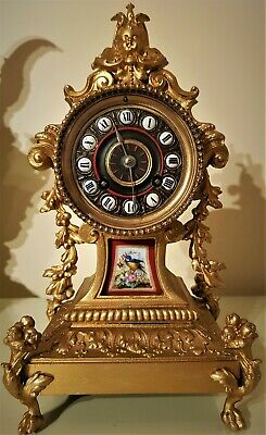 French Rococo Style Gilt & Porcelain Mantel Clock.