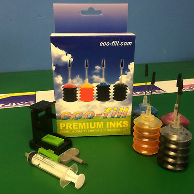 EcoFill INK Cartridge REFILL KIT for HP Envy 5640 5642 5643 5644 7640 Printer 62