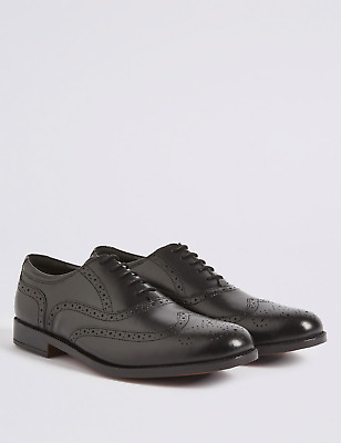 Frank James Harlow Leather Lace Up Mens Shoes Brogue pointed toe Black