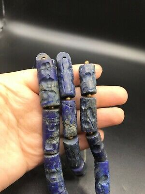 Wonderful very old lapis lazuli Deffirent intaglio Clyinder seal bead necklace