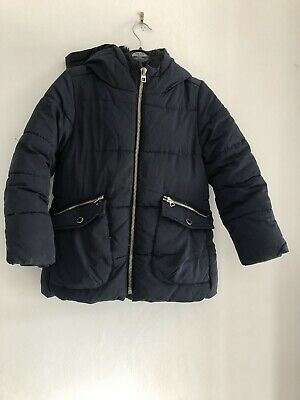 Zara Girls Navy Blue Hooded Winter School Coat Jacket Age 8 Years