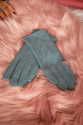 Vintage style duck egg blue triple stitched soft leather gloves size M Milano