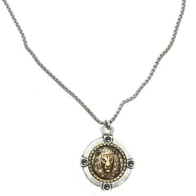 "Silver Gold Lion Coin in Crystal holder 20""/24"" Medieval Look Men Women Necklace"