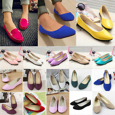 Womens Pointed Toe Boat Shoes Ladies Ballet Slip On Flats Loafers Single Shoes