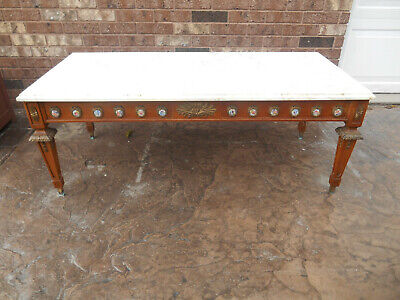 Antique French Louis XVI Marble & Brass Ormolu Coffee Table with Sevres Plaques