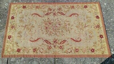 ANTIQUE c1900 Original FRENCH Genuine AUBUSSON Rug Hand Woven in FRANCE