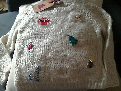 Next Girls Christmas Jumper Age 5 Years Trees Snowman Reindeer Jumper Wool Blend
