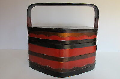 Antique Chinese Red & Black Lacquer Wood Wedding Basket / Box w/Handle
