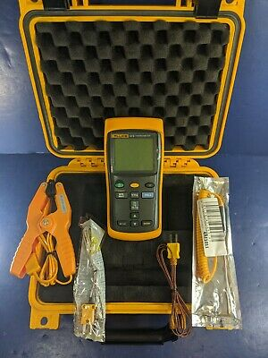 Fluke 52 II Thermocouple Thermometer, Excellent, Screen Protector, Case, More