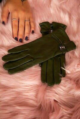 Vintage style dark green soft leather gloves with triple diamante buckle size L