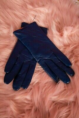 Vintage style Navy Blue triple stitched soft leather gloves size S 'Oksana'