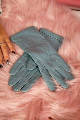 Vintage style soft duck egg blue leather gloves Size M 'Milano'