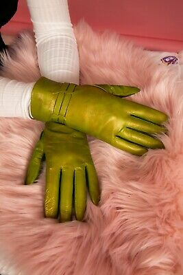 Metallic green goat skin leather gloves by Jeronimo Made in Italy size 8.5