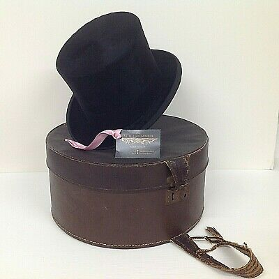 Vintage Edwardian Dunn & Co Black Silk Top Hat in leatherette Box Theatre Props!