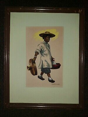 Original painting of a Mexican Sombrero Peddler by listed artist Robert Clark