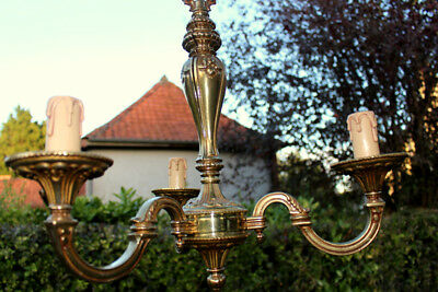 Vintage French 3 Arm Ornate Bronze Rococo Chandelier 89 cm reduced price