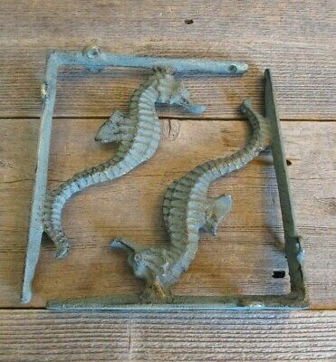 2 Cast Iron NAUTICAL SEAHORSE Brackets Garden Braces Shelf Bracket Book Beach
