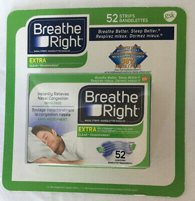 Breathe Right Extra Clear 52 Nasal Strips Med Reduce Snoring Sleep Better Now