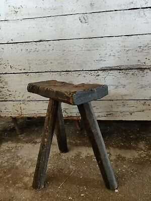 Antique Rustic Hand-Carved Wooden Tripod Milking Stool or Small Table
