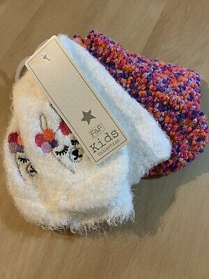 F&F Girls Christmas Llama Fluffy Warm Socks 2 Pack Pairs White Purple Size 4-5.5