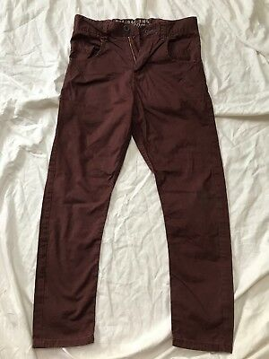 Boys Next Trousers Size Age9 Chino Coloured Jeans Burgundy Brown Maroon Bias Cut