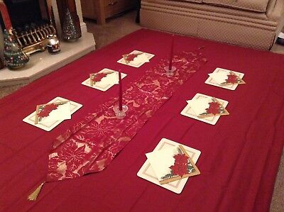Christmas Dining Table Cream Gold Red set tablecloth runner mats holders candles