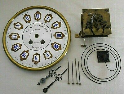 VINTAGE BAKERS CLOCK MOVEMENT, with ENAMELED DIAL, BEZEL, HANDS, AND COILD GONG