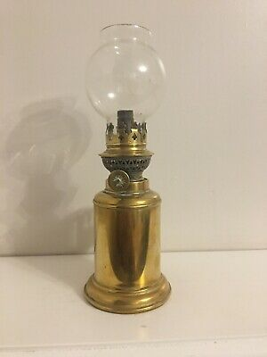Antique French Brass Pigeon Oil Lamp Glass Shade Unexplodable Vintage Table Wall