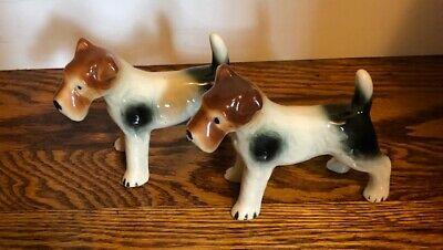 Set Of 2 Vintage Brown Wired Fox-Airedale Terrier Dog Ceramic Figurines
