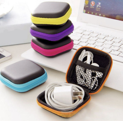 Cable Headphone Carry Storage Box Earbud Hard Case Travel Portable Bag P/&C